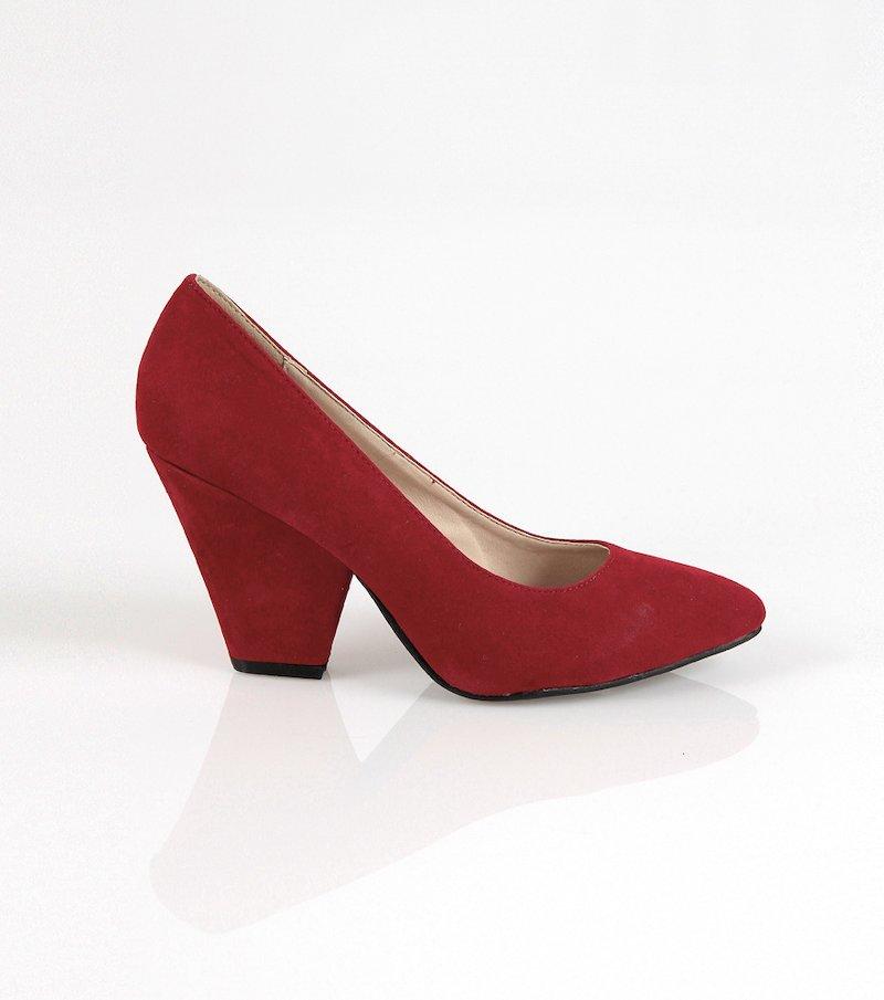 Zapatos de tacón mujer corte salón en símil ante - Rojo