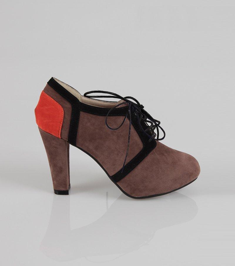 Zapatos mujer de tacón con cordones - Marrón