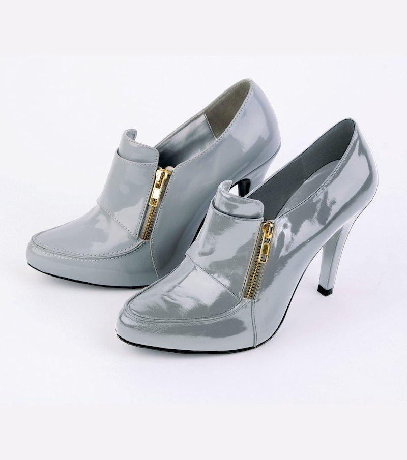 Zapatos mujer de tacón tipo charol con cremallera