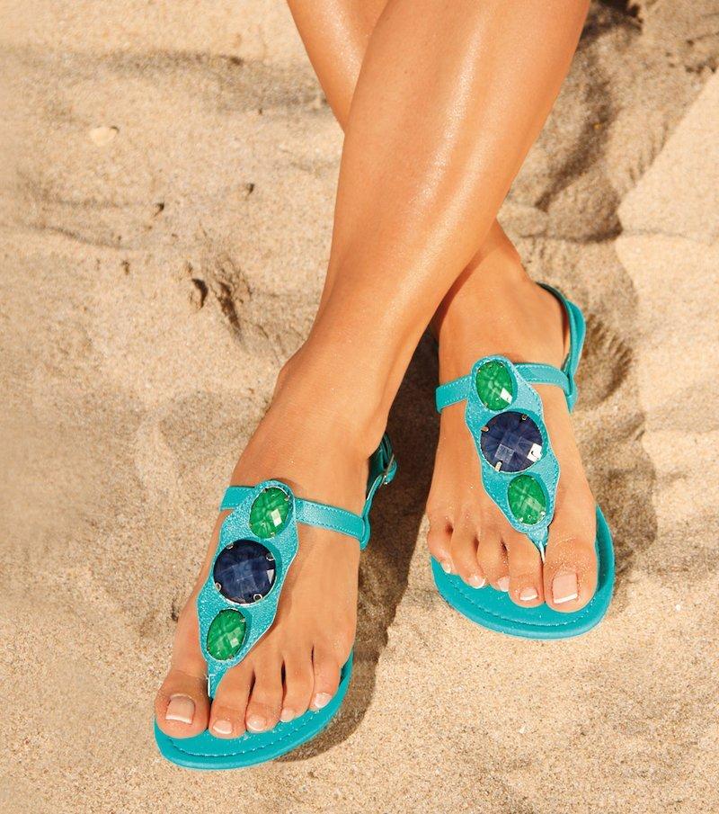 Sandalias mujer con pedrería - Azul