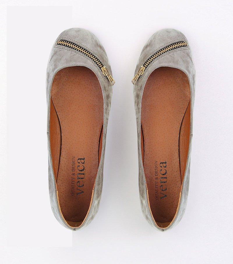 Zapatos bailarinas mujer con detalle de cremallera