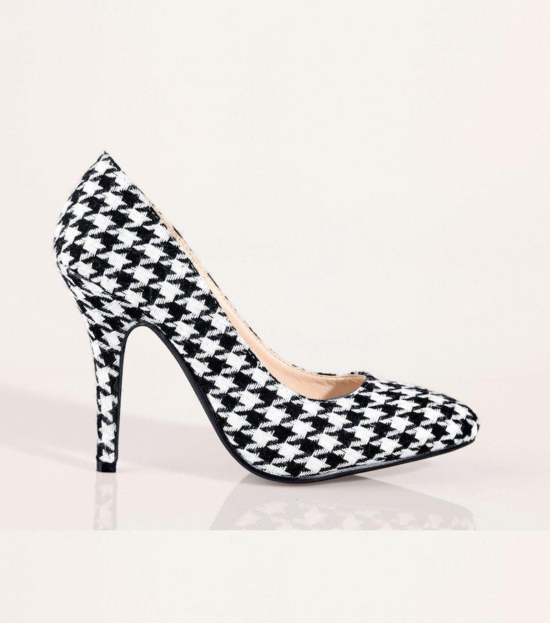 Zapatos mujer salón símil piel y pata de gallo