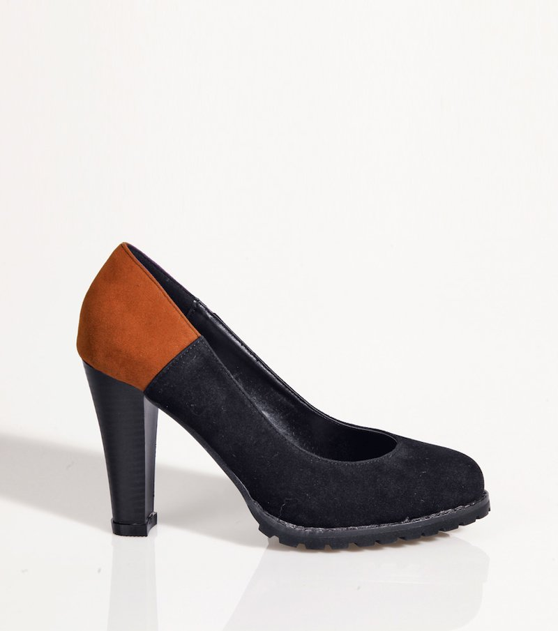 Zapatos mujer con tacón bicolor simil ante - Negro