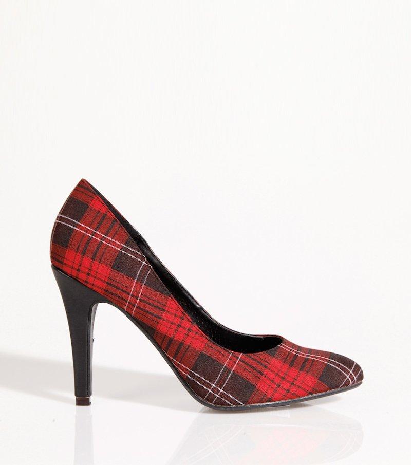 Zapatos tacón mujer cuadro escocés