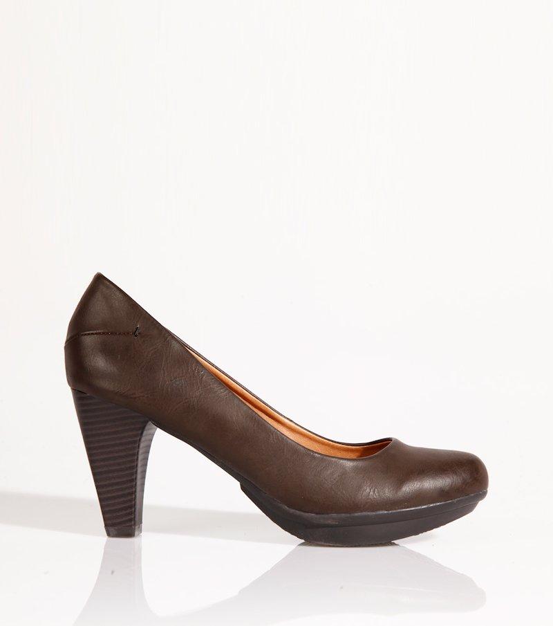 Zapatos mujer de tacón corte salón símil piel - Marrón