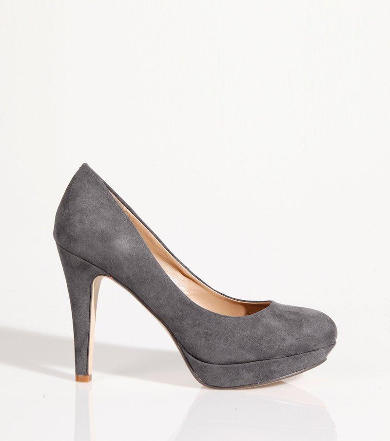 Zapatos de tacón mujer con plataforma símil piel - Gris
