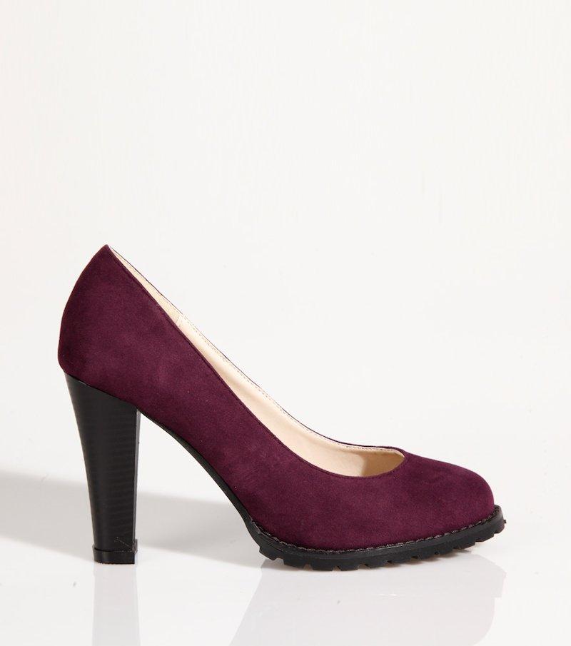 Zapatos mujer de tacón corte salón símil piel - Lila
