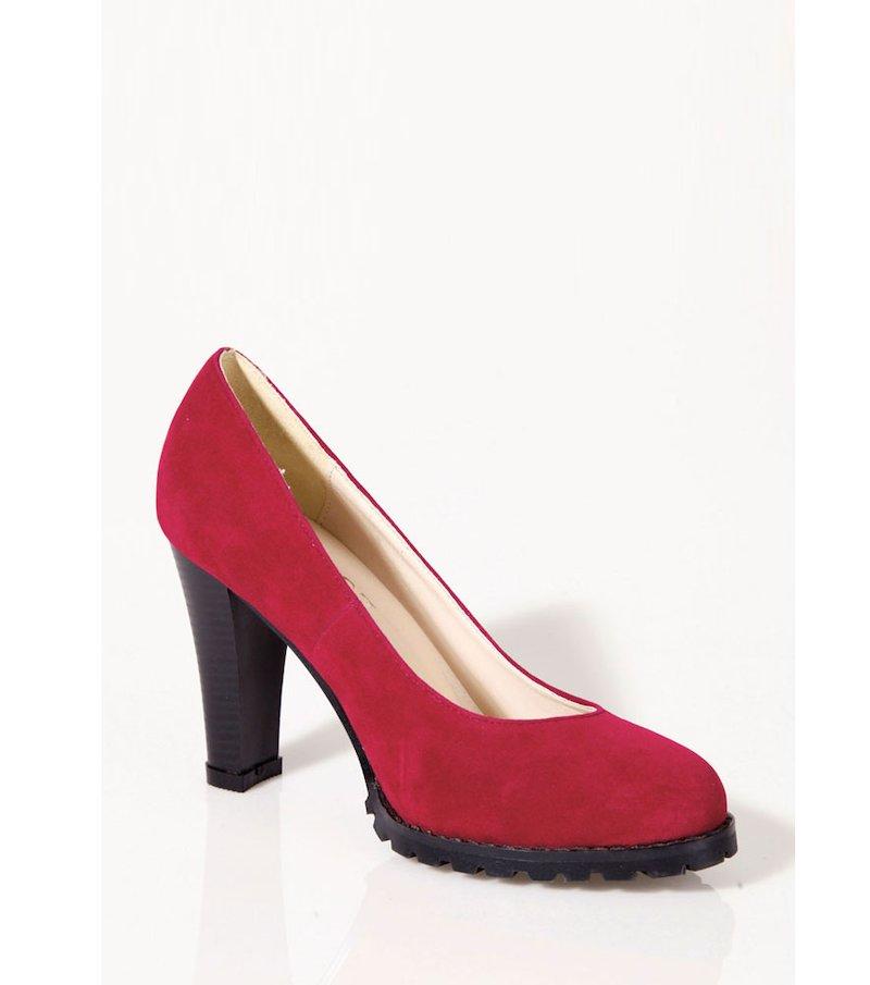 Zapatos mujer de tacón corte salón símil piel - Rojo