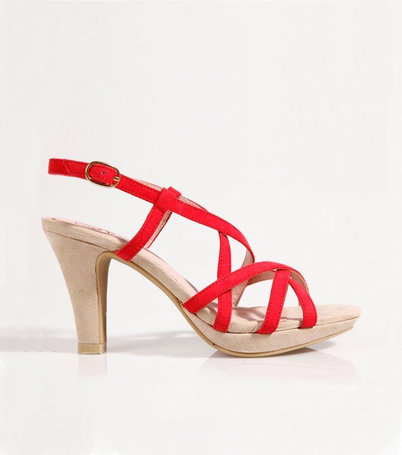 Sandalias mujer tacón rojo