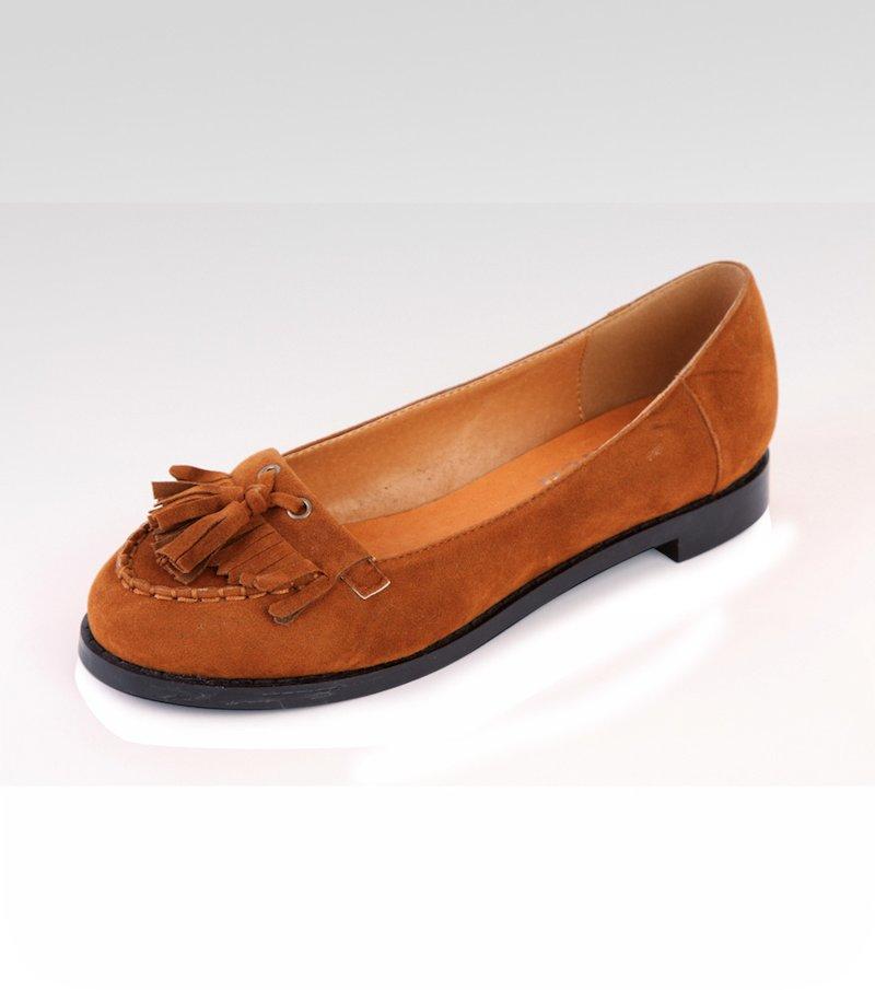 Zapatos mujer tipo mocasín con flecos símil piel