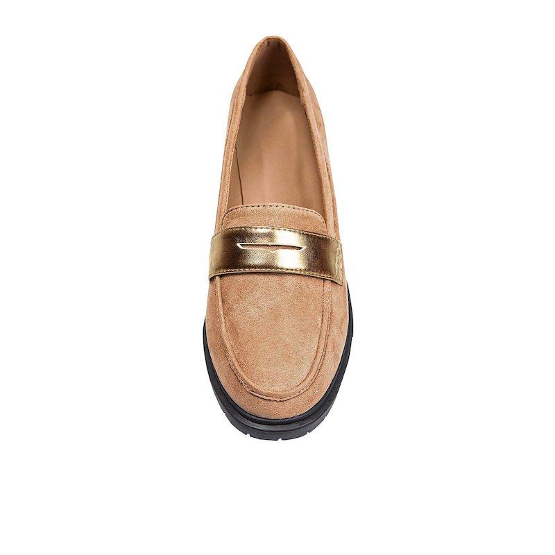 Zapatos mocasines para mujer símil ante - Marrón