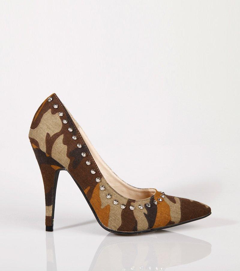 Zapatos mujer de tacón corte salón camuflaje - Verde
