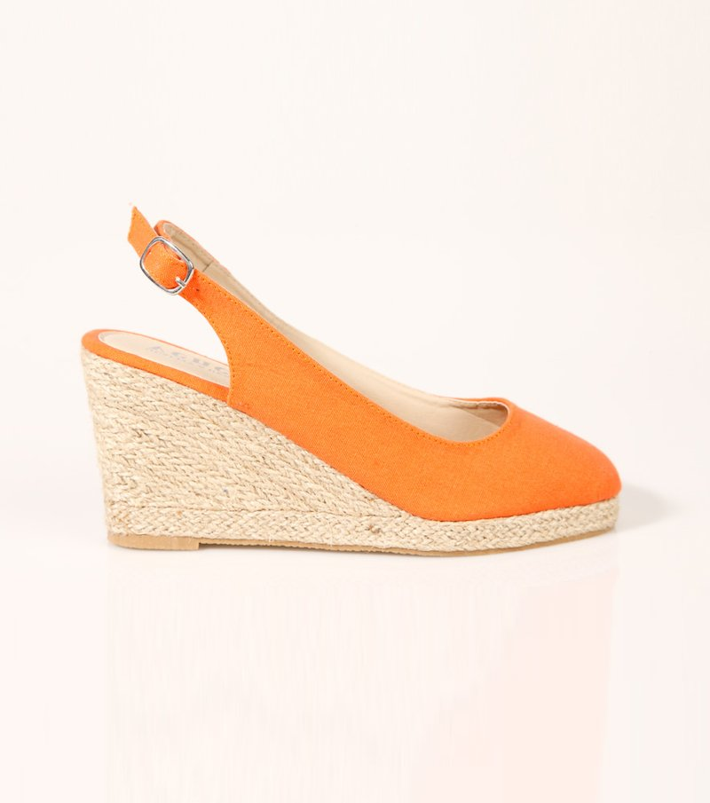 Sandalias alpargatas mujer cuña y plataforma - Naranja