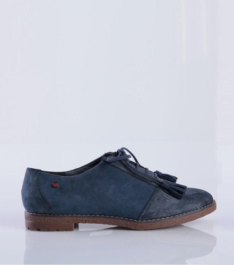 Zapatos mujer tipo Oxford flecos símil antelina