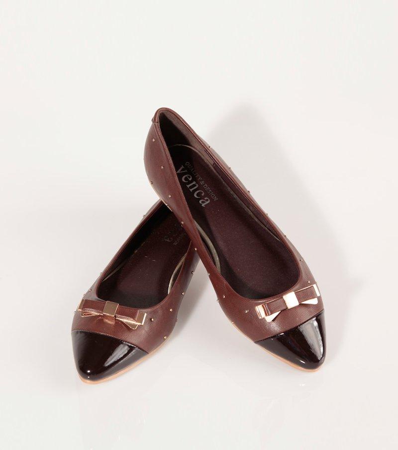 Zapatos bailarinas puntera de charol símil piel - Marrón