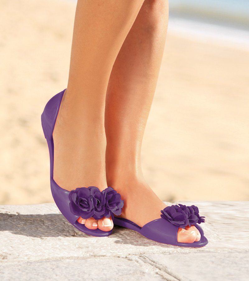 Zapatos manoletinas mujer flor PVC - Lila