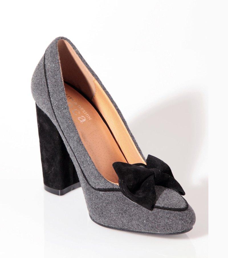 Zapatos mujer de tacón con lazo terciopelo