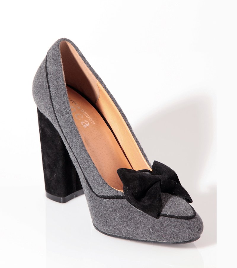 Zapatos mujer de tacón con lazo terciopelo - Gris
