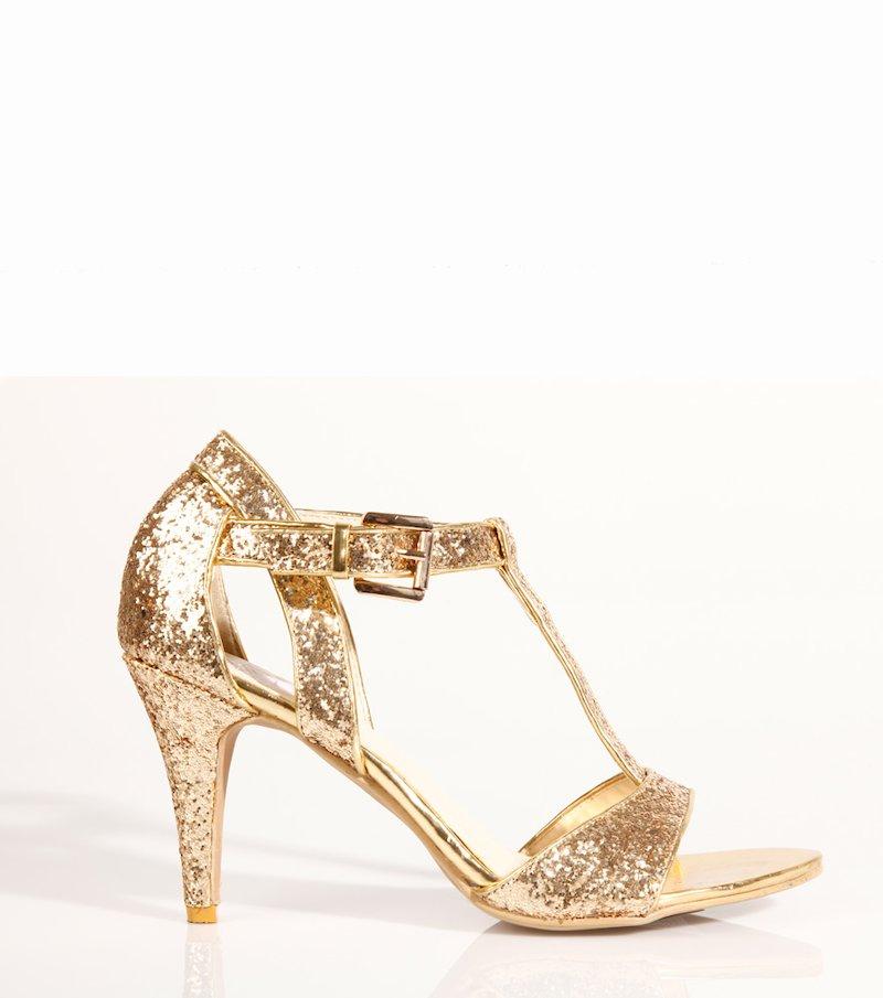 Zapatos de tacón fiesta mujer con glitter - Metal