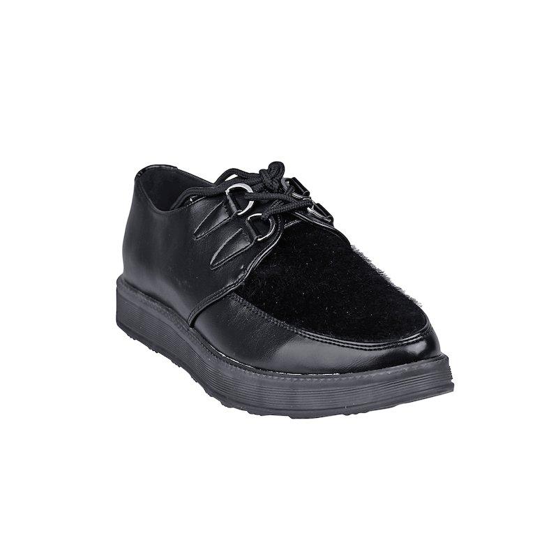 Zapatos planos y plataforma con cordones - Negro