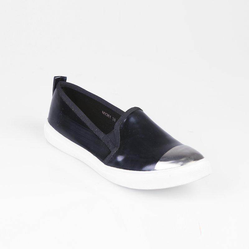 Zapatos planos puntera plateada - Negro