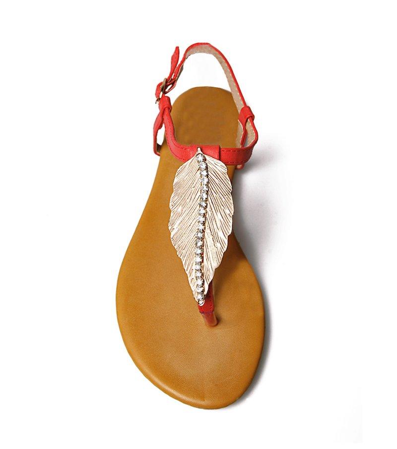 Sandalias planas mujer con pluma y abalorios