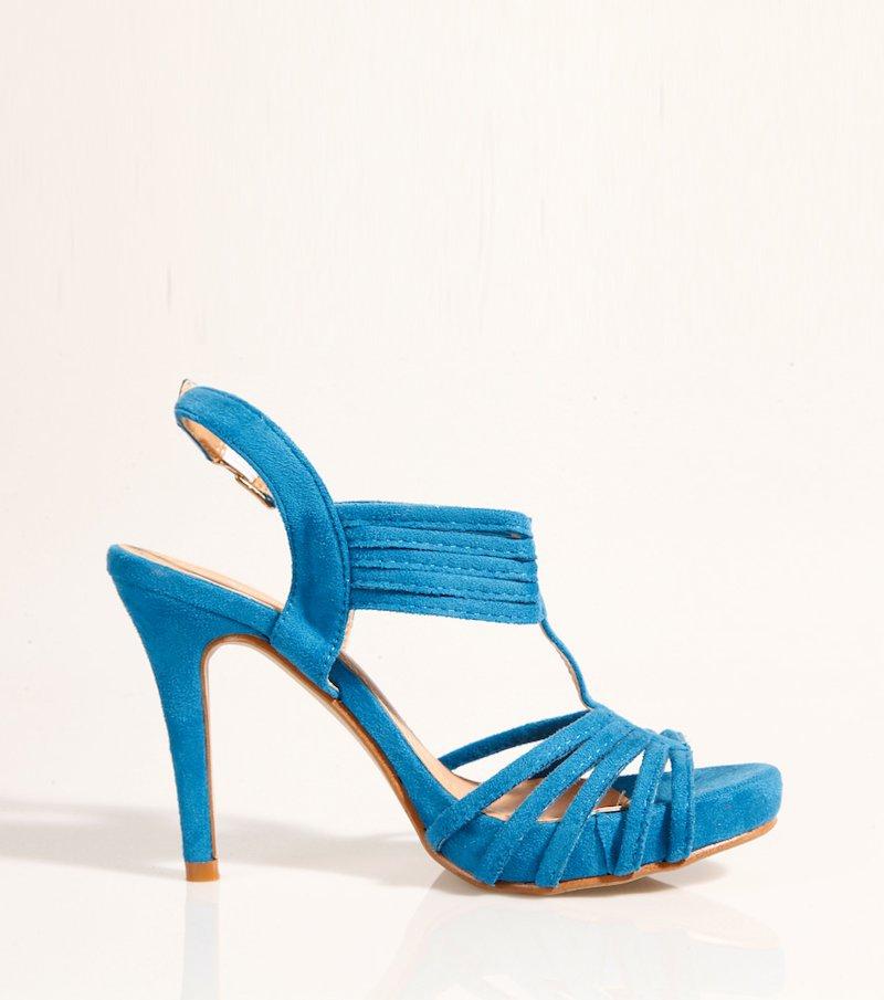 Sandalias mujer tacón con plataforma - Azul