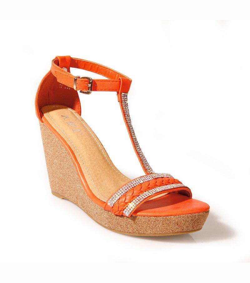 Sandalias de cuña para mujer con strass - Naranja