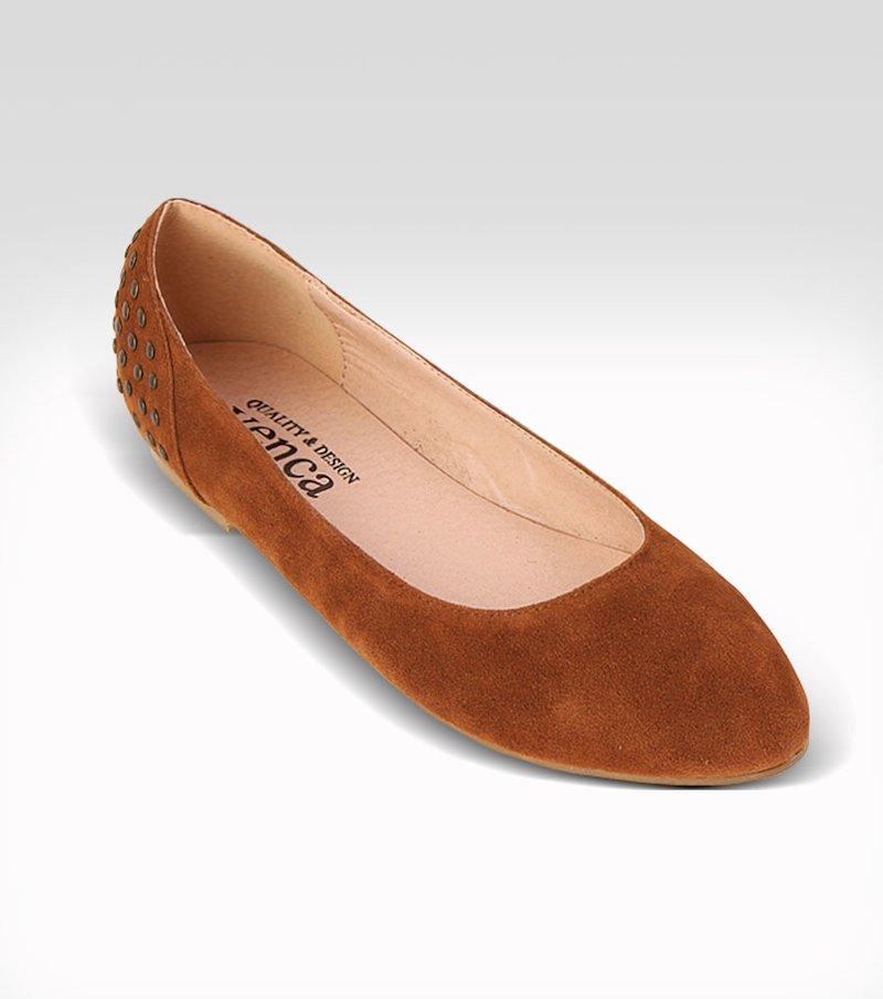 Zapatos bailarinas mujer con tachuelas símil piel