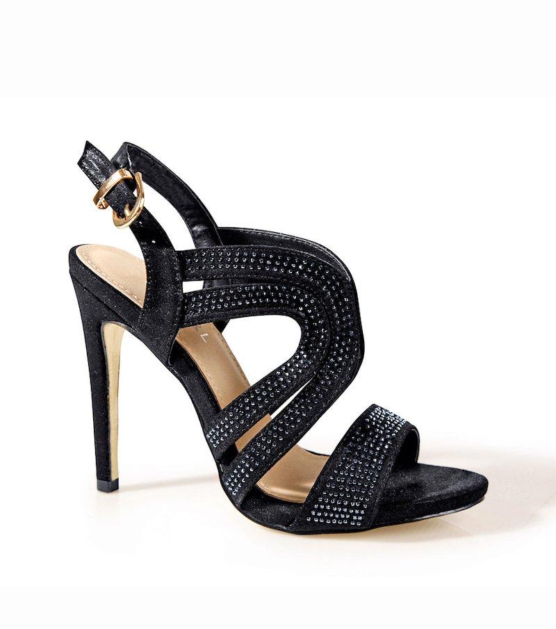 Sandalias fiesta de tacón mujer con strass - Negro