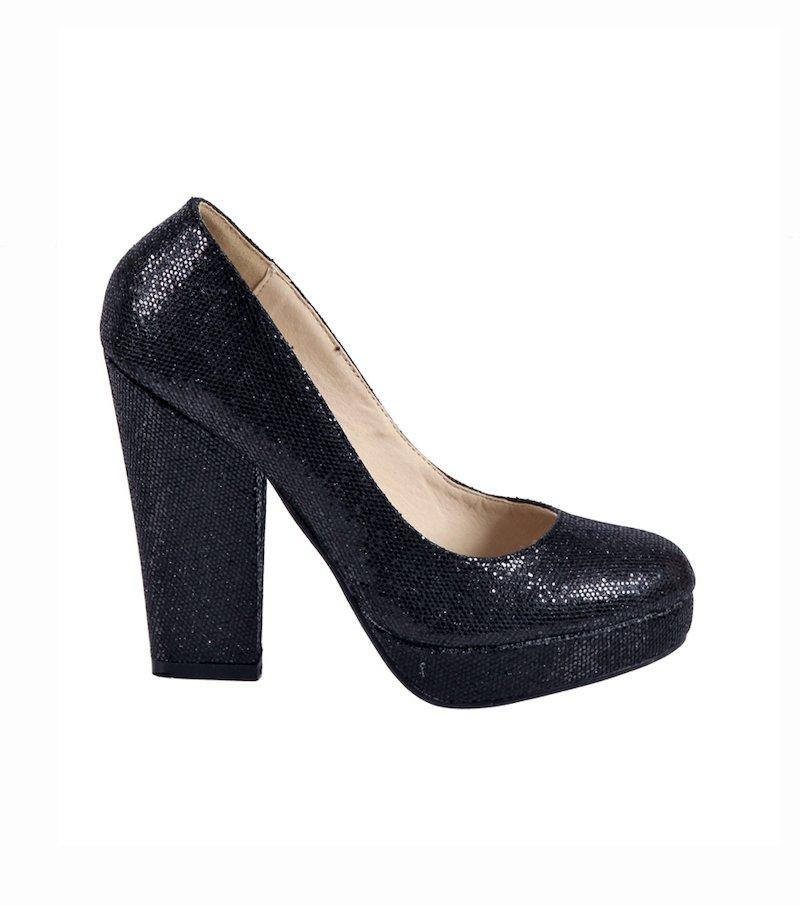 Zapatos de tacón de fiesta mujer brillantes - Negro