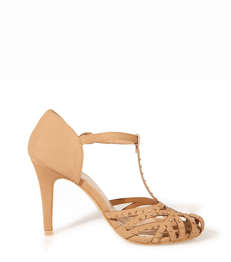 Sandalias mujer de tacón con strass - Beige