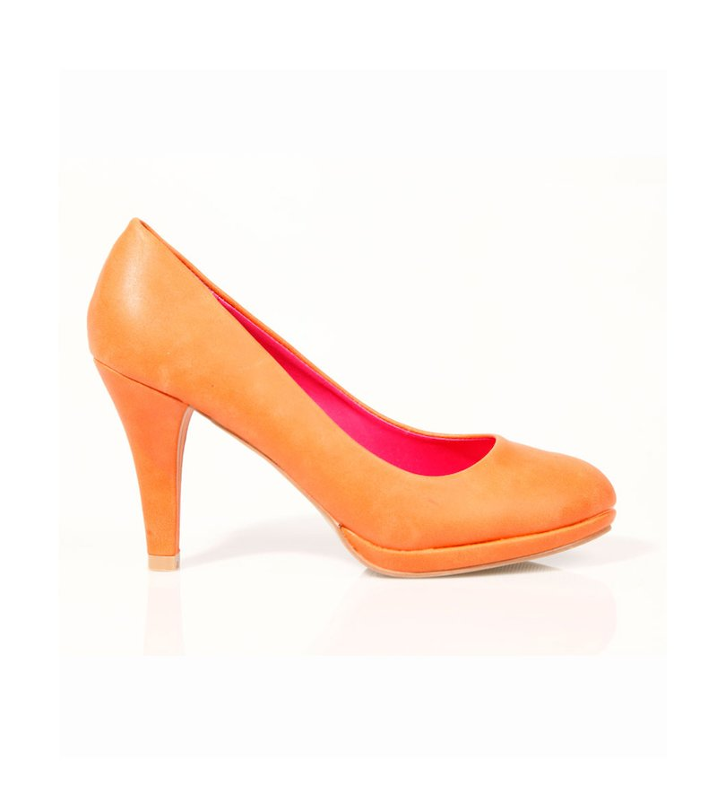 Zapatos salón mujer con plataforma naranja