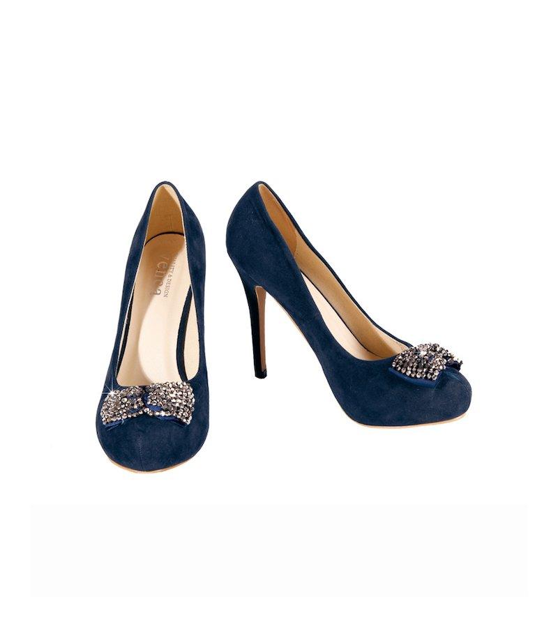 Zapatos de tacón fiesta mujer con lazo de fantasía - Azul