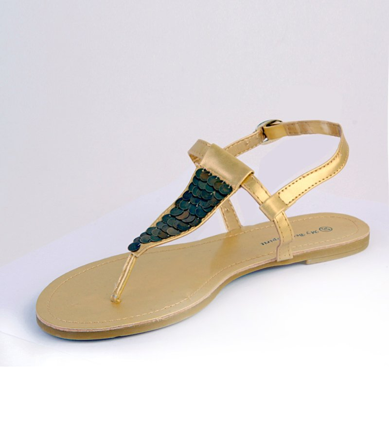 Sandalia mujer plana con escamas metálicas