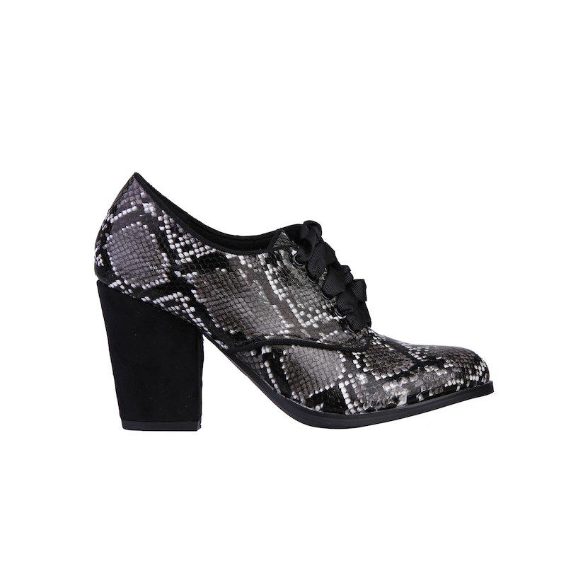 Zapatos abotinados tacón mujer símil piel reptil