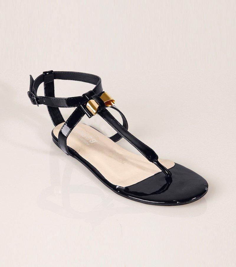 Sandalias planas mujer con tiras y lazo - Negro