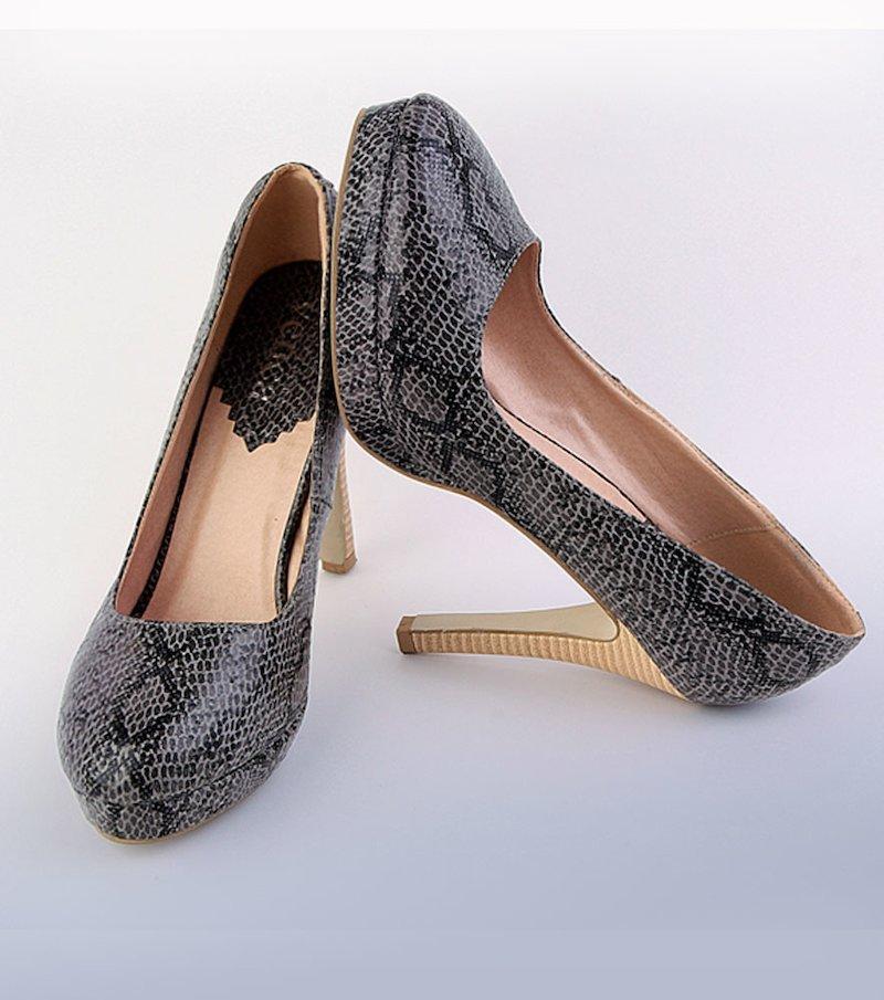 Zapatos salón mujer de tacón símil serpiente - Negro