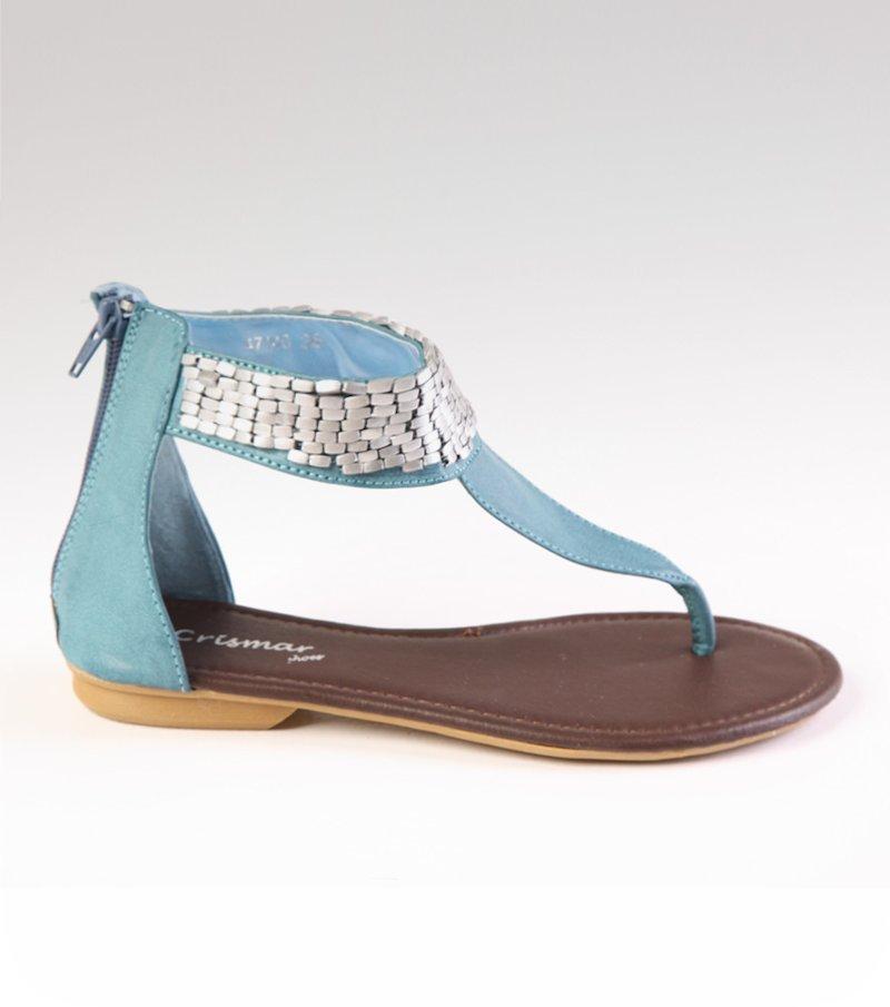 Sandalias planas mujer detalles plateados