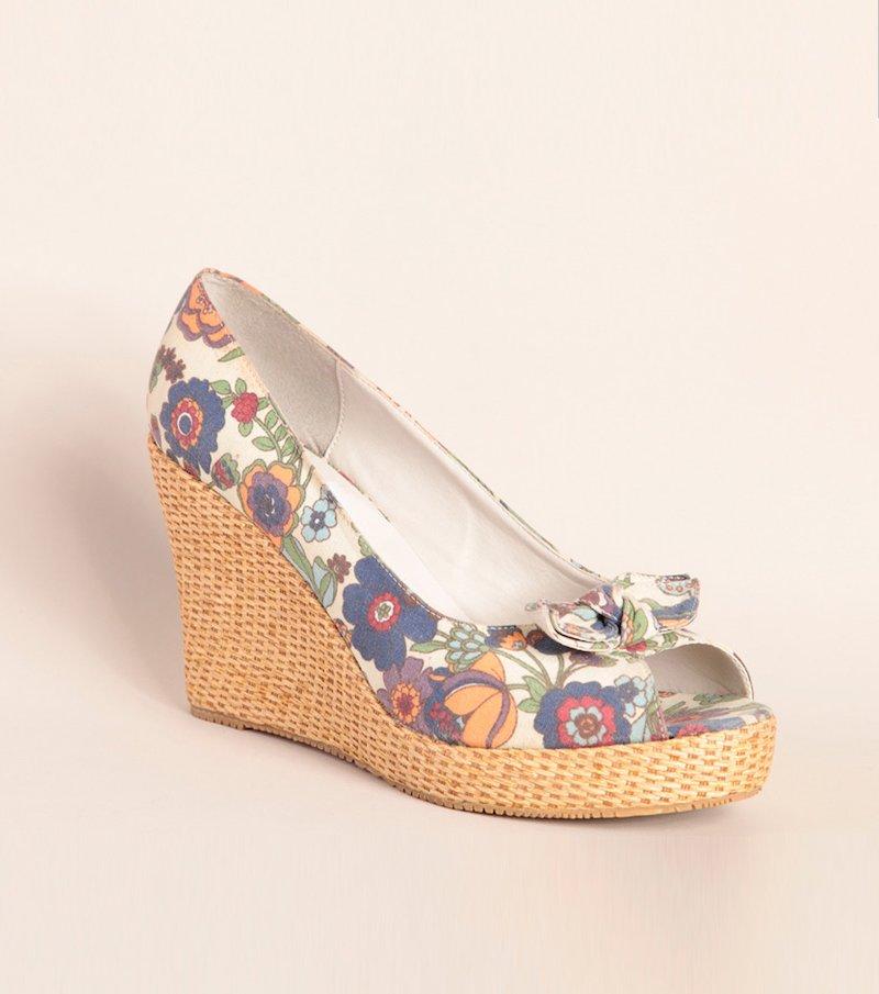 Zapatos mujer peep toe con cuña y plataforma