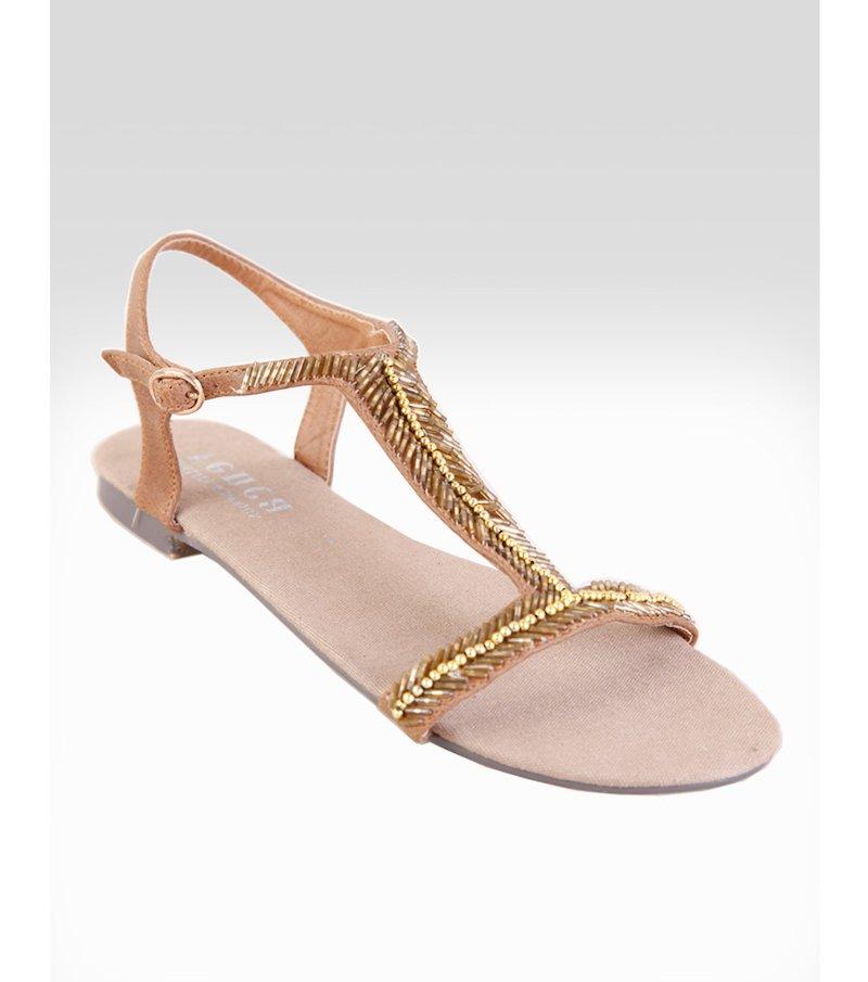 Sandalias planas mujer de tiras con abalorios