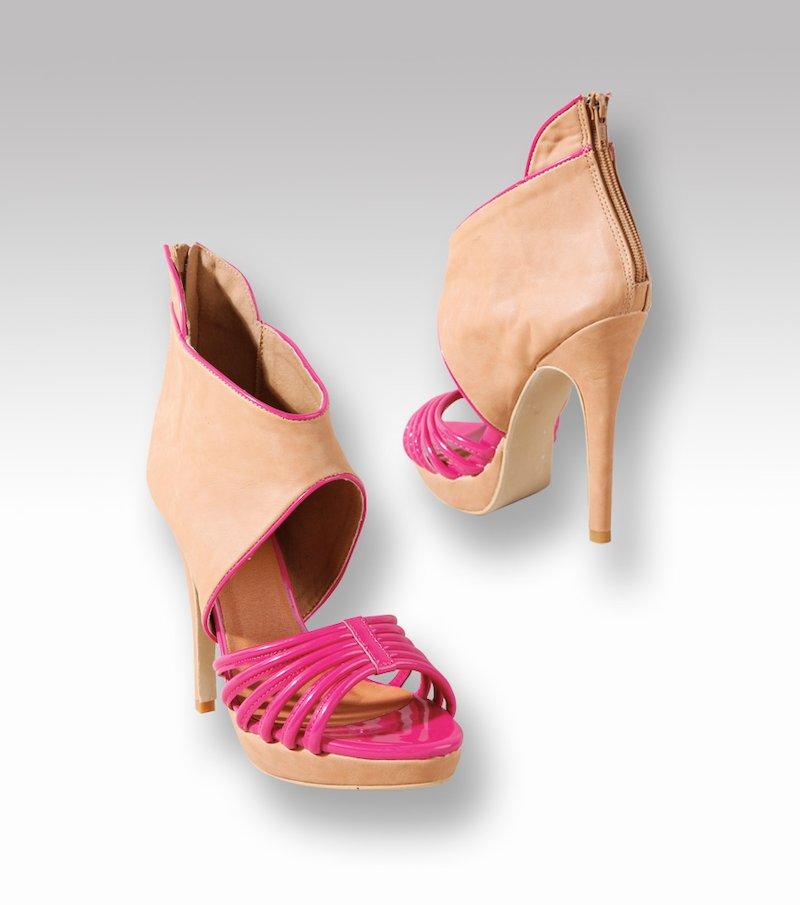 Sandalias abotinadas mujer con plataforma - Rosa