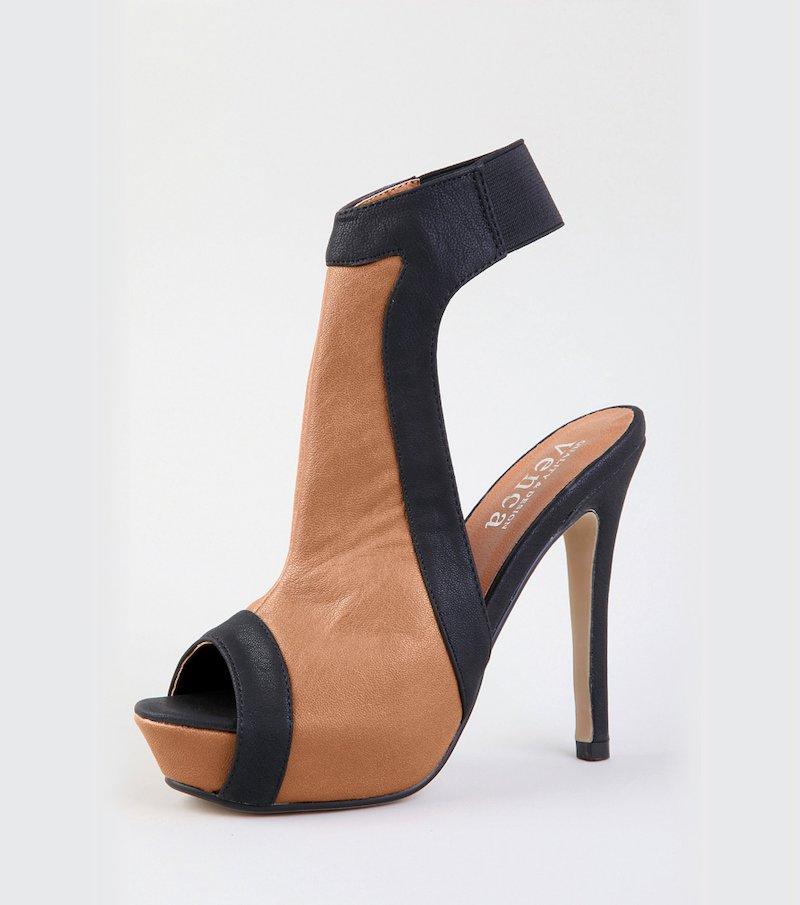 Sandalias botines con tacón de mujer estilo peep toe - Marrón