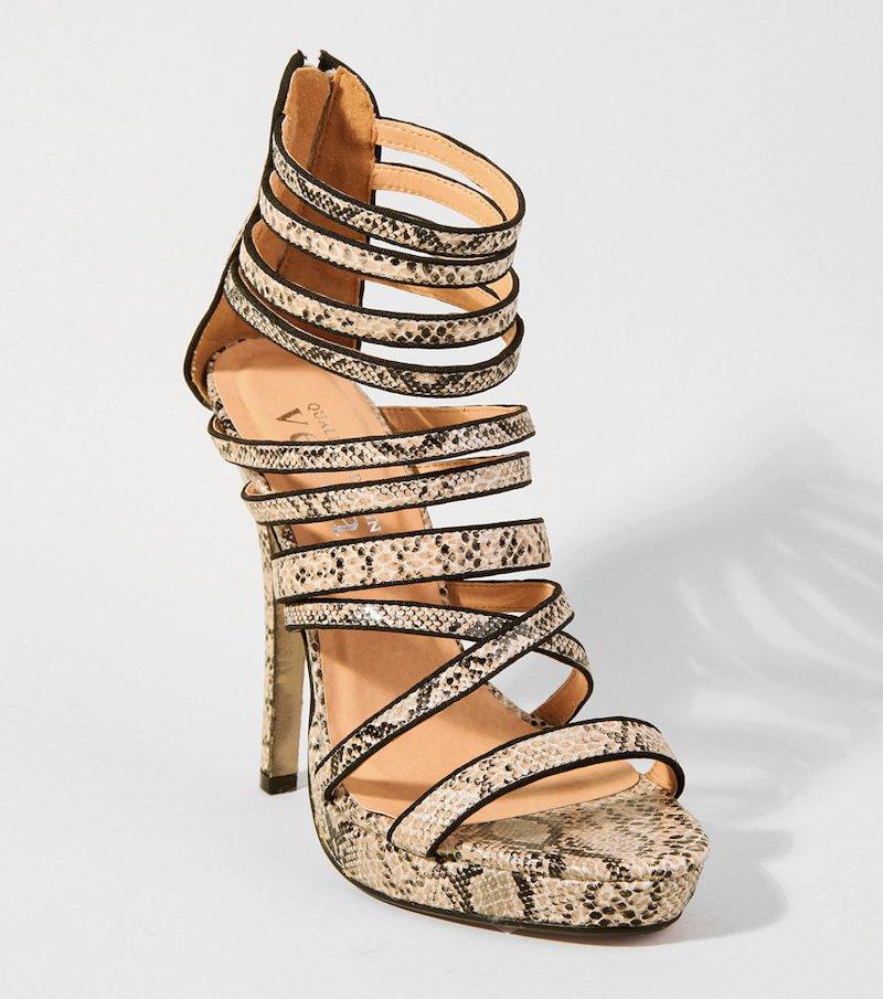 Sandalias de tacón alto mujer tiras pitón