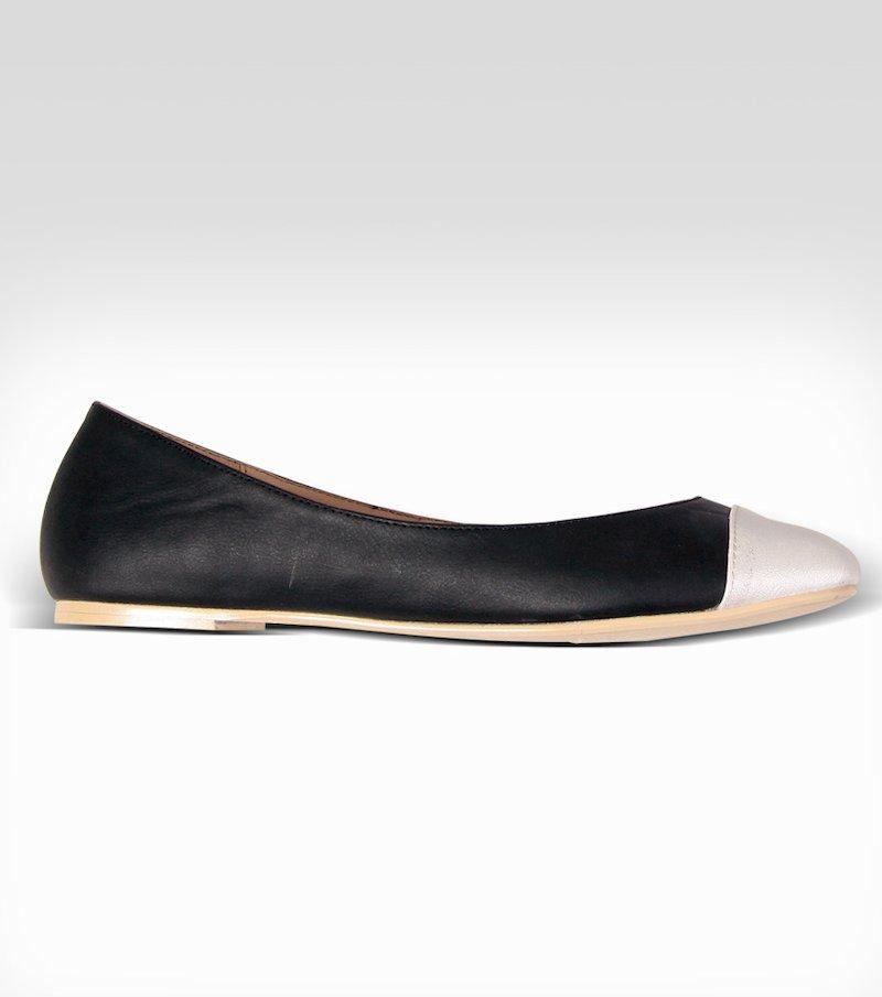 Zapatos bailarinas mujer bicolor - Negro