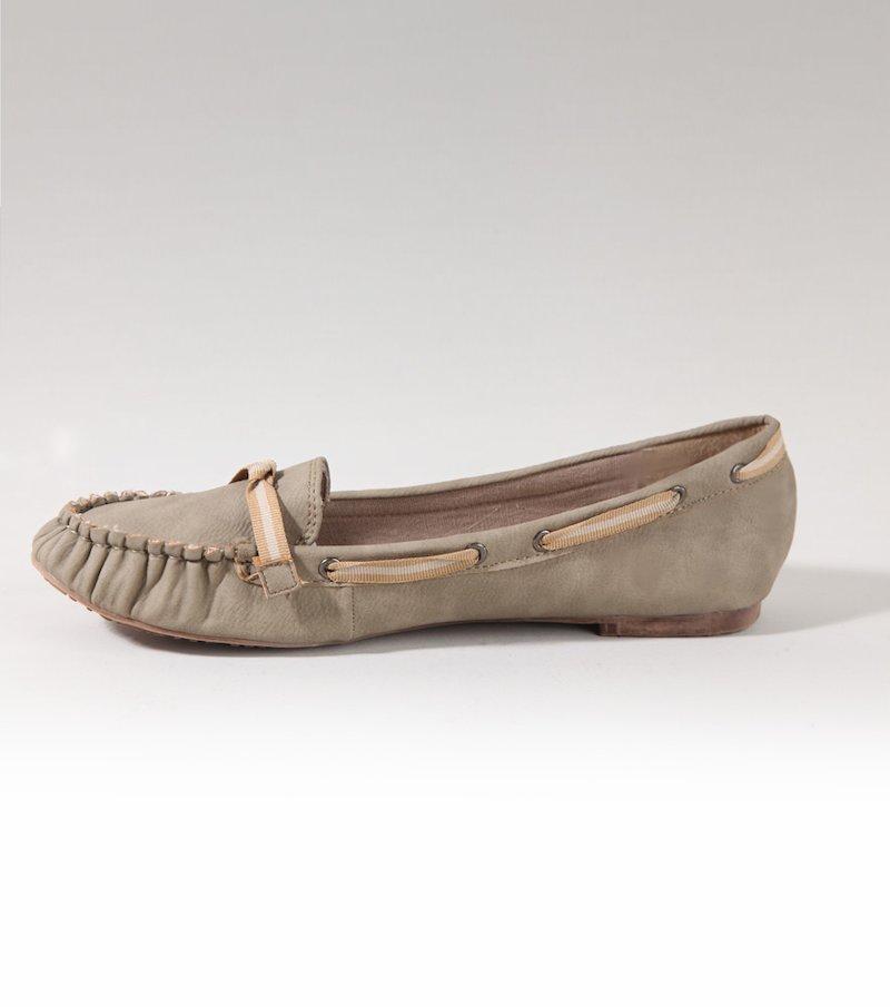 Zapatos planos mujer mocasín símil piel - Beige