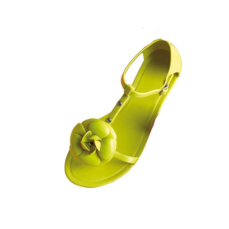 Sandalias planas mujer con flor y strass