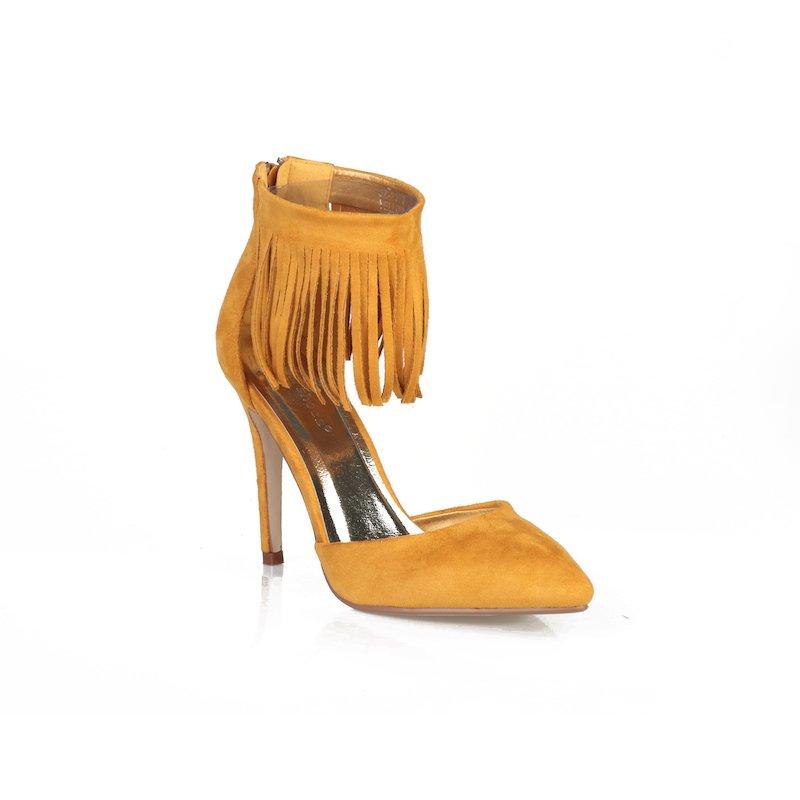 Zapatos de tacón fiesta con flecos símil ante