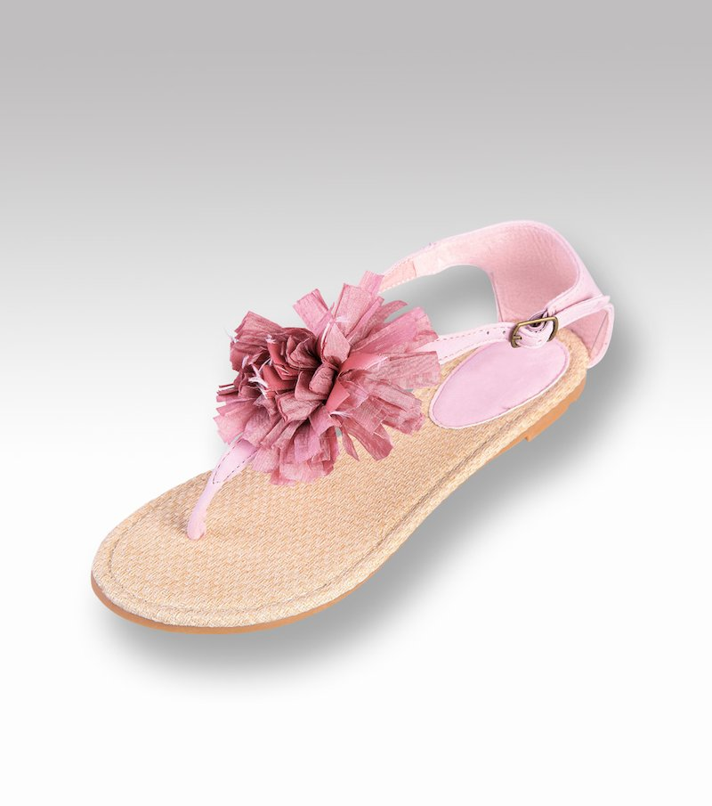 Sandalias planas mujer con flor símil piel
