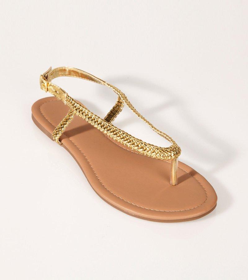 Sandalias planas mujer trenzadas símil piel